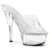 Rhinestones 15 cm Pleaser KISS-201SD womens mules shoes