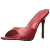 Rød 10 cm CLASSIQUE-01 dame mules med høje hæl