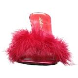 Rød 10 cm CLASSIQUE-01F dame mules med marabou fjer