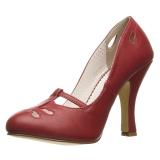 Rød 10 cm SMITTEN-20 Pinup pumps sko med lave hæle