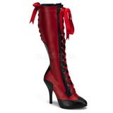 Rød 11,5 cm TEMPT-126 Damestøvler med Snøre