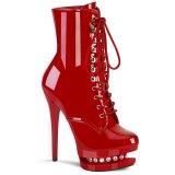 Rød 15,5 cm BLONDIE-R-1020 plateau ankelstøvler med snørebånd i laklæder