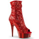 Rød 15 cm DELIGHT-1008SQ ankelstøvler til damer med pailletter