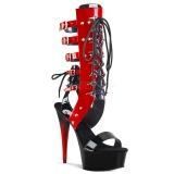 Rød 15 cm DELIGHT-600-38 knæhøje gladiator sandaler til damer