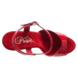 Rød 15 cm DELIGHT-609 pleaser høje hæle med plateau