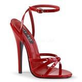 Rød 15 cm DOMINA-108 fetish sandaler med stilethæl