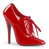 Rød 15 cm DOMINA-460 oxford sko med høje hæle