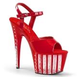 Rød 18 cm ADORE-709VLRS plateau høje hæle med strass sten