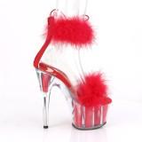 Rød 18 cm ADORE-724F pole dance højhælede sandaler med fjer