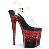 Rød 20 cm FLAMINGO-808SS glitter plateau high heels sko