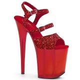 Rød 20 cm FLAMINGO-874 glitter plateau sandaler sko