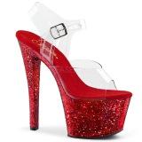 Rød 20 cm SKY-308LG glitter plateau high heels sko
