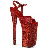 Rød 25,5 cm BEYOND-010LG glitter plateau high heels sko