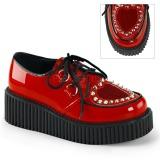 Rød 5 cm CREEPER-108 creepers sko dame plateausko med tykke såler