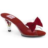 Rød 7,5 cm BELLE-301BOW Pinup mules sko med sløjfe