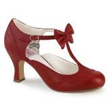 Rød 7,5 cm retro vintage FLAPPER-11 Pinup pumps med lave hæle