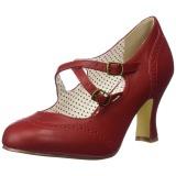 Rød 7,5 cm retro vintage FLAPPER-35 Pinup pumps med lave hæle