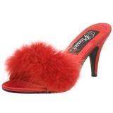 Rød 8 cm AMOUR-03 Marabou fjer Høje Slip in sko