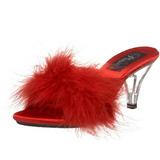 Rød 8 cm BELLE-301F Marabou fjer Høje Slip in sko