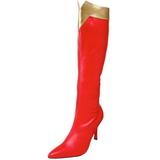 Rød 9,5 cm WONDER-130 Knæhøje Støvler Dame