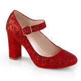 Rød 9 cm SABRINA-07 pumps sko med blokhæl
