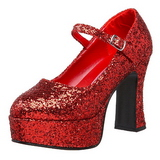 Rød Glitter 11 cm MARYJANE-50G Mary Jane Pumps Plateau