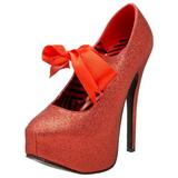 Rød Glitter 14,5 cm Burlesque TEEZE-04G damesko med høj hæl
