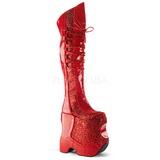 Rød Glitter 22 cm FABULOUS-3035 Overknee Støvler til Drag Queen