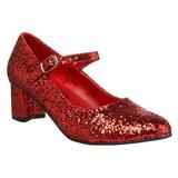 Rød Glitter 5 cm SCHOOLGIRL-50G Mary Jane Pumps