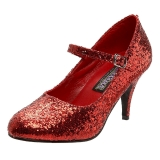 Rød Glitter 7,5 cm GLINDA-50G Mary Jane Pumps