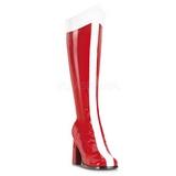 Rød Hvid 8 cm GOGO-305 Knæhøje Støvler Dame
