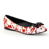 Rød Hvid VAIL-20BL gothic ballerina sko med flade hæle