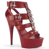 Rød Kunstlæder 15 cm DELIGHT-658 pleaser sko med høje hæle