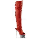 Rød Kunstlæder 16,5 cm ILLUSION-3019 lårlange støvler med plateausål