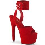 Rød Kunstlæder 18 cm ADORE-791FS pleaser høje hæle med ankelremme