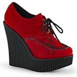 Rød Kunstlæder CREEPER-302 wedges creepers sko med kilehæle