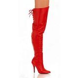 Rød Læder 13 cm LEGEND-8899 Lårlange Overknee Støvler