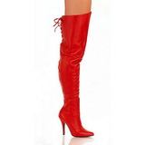 Rød Læder 13 cm LEGEND-8899 overknee støvler med hæl til Mænd