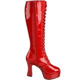 Rød Lak 10,5 cm EXOTICA-2020 Høje Dame Støvler med Snøre