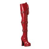 Rød Lak 13 cm ELECTRA-3028 Højhælede Overknee Støvler
