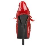 Rød Lak 14,5 cm Burlesque BORDELLO TEEZE-01 Høje Hæle Pumps Plateau