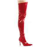 Rød Lak 9,5 cm LUST-3000 Lårlange Overknee Støvler