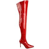Rød Lak 9,5 cm LUST-3000 overknee støvler med hæl