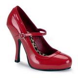 Rød Lakeret 12 cm rockabilly PRETTY-50 dame pumps med lave hæl