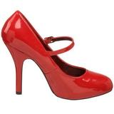 Rød Lakeret 12 cm rockabilly TEMPT-35 dame pumps med lave hæl