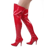 Rød Lakeret 13 cm SEDUCE-3000 overknee støvler med hæl til Mænd