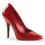 Rød Lakeret 13 cm SEDUCE-420 spidse pumps med høje hæle
