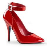 Rød Lakeret 13 cm SEDUCE-431 dame pumps med lave hæl