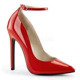 Rød Lakeret 13 cm SEXY-23 klassisk pumps sko til damer