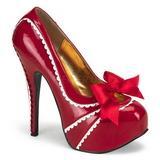 Rød Lakeret 14,5 cm Burlesque TEEZE-14 damesko med høj hæl